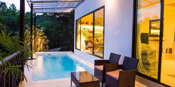 Balinese-villa-sale-koh-chang-pool-lit-view