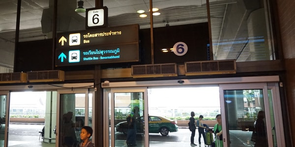 don mueang airport bangkok thailand shuttle bus door 6 shuttle bus
