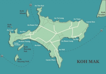 Koh Mak Map with Koh Kradat and Koh Kham